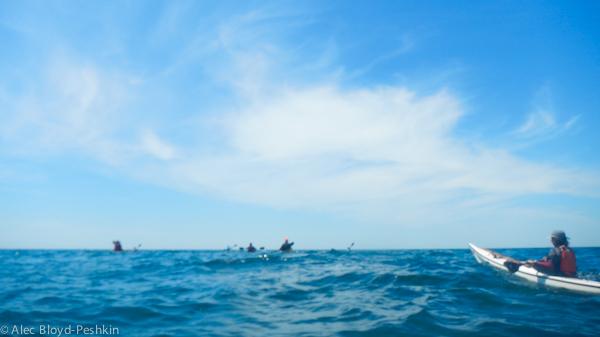 Paddling across the Block Island Sound.