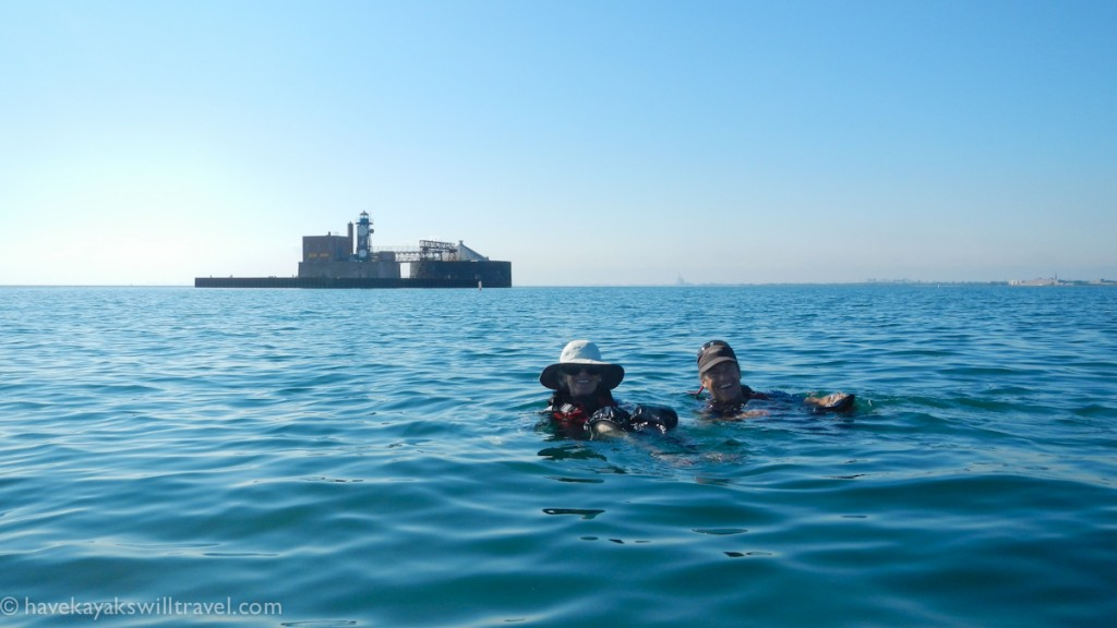 Alec and his mom enjoy an out-of-boat experience more than a mile offshore.